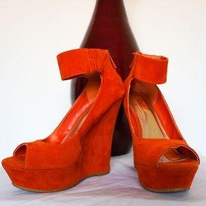 Orange Velvet Platform High Heel Wedges